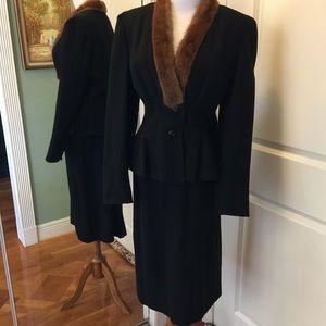 Stunning Vintage fur edged going away Bridal suit